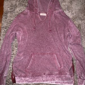 Purple hooded sweatshirt.